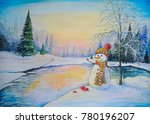 winter landscape paintings ... | Shutterstock . vector #780196207