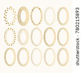 set of golden oval hand drawn... | Shutterstock .eps vector #780215893