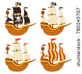 cartoon tall ship illustration... | Shutterstock . vector #780245707