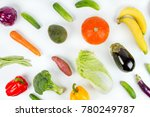 flat lay fruits and vegetables... | Shutterstock . vector #780249787