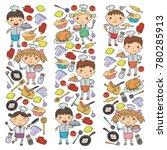 cute kids chef on white... | Shutterstock .eps vector #780285913