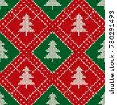 christmas seamless knitted... | Shutterstock .eps vector #780291493