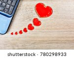 red hearts on the office desk... | Shutterstock . vector #780298933