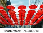 decorative red parasol hang in... | Shutterstock . vector #780300343