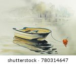 fishing boat on the lake or... | Shutterstock . vector #780314647