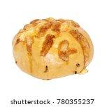 appetizing round baked golden...