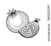 pomegranate. half of... | Shutterstock .eps vector #780355297