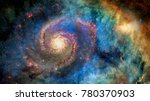 Small photo of Awesome spiral galaxy many light years far from the Earth. Elements furnished by NASA