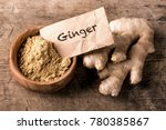 ginger powder and fresh roots | Shutterstock . vector #780385867