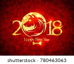 2018 happy new year card with... | Shutterstock .eps vector #780463063