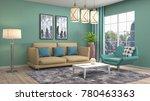 interior living room. 3d...   Shutterstock . vector #780463363