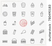 fast food line icons set | Shutterstock .eps vector #780490183