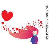 valentines day with girl in... | Shutterstock .eps vector #780519733