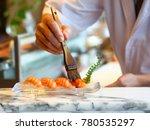 salmon sushi sashimi japanese... | Shutterstock . vector #780535297