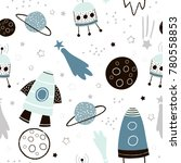 Stock vector childish seamless pattern with hand drawn space elements space rocket star planet space probe 780558853