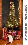 christmas tree corner with... | Shutterstock . vector #780623503