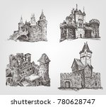 vector old castle illustrations ... | Shutterstock .eps vector #780628747