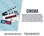 movie clapper board  tickets... | Shutterstock .eps vector #780684853