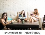 group of cute young women and... | Shutterstock . vector #780694807