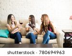 group of cute female friends... | Shutterstock . vector #780694963
