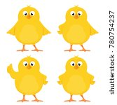 funny yellow chickens isolated... | Shutterstock . vector #780754237