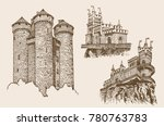 graphical set of vintage... | Shutterstock .eps vector #780763783