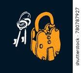 vintage lock and keys or lock... | Shutterstock .eps vector #780787927