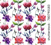 wildflower peony flower pattern ... | Shutterstock . vector #780790183