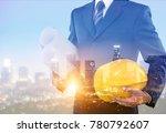 man using digital tablet on... | Shutterstock . vector #780792607