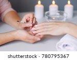 nail care. closeup of beautiful ...   Shutterstock . vector #780795367