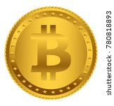 gold bitcoin coin  isolated on... | Shutterstock . vector #780818893