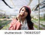 young asian girl in strawberry...   Shutterstock . vector #780835207