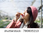 young asian girl in strawberry...   Shutterstock . vector #780835213