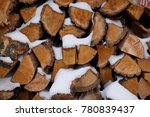 Chopped Wood In The Snow