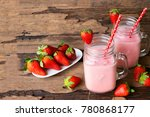strawberry smoothies  and... | Shutterstock . vector #780868177