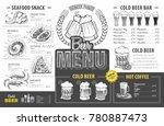 vintage beer menu design.... | Shutterstock .eps vector #780887473