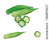 fresh okra or green rosellecut