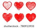 grunge hearts for valentines... | Shutterstock .eps vector #780913933