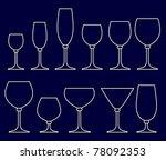 set of glasses for alcoholic... | Shutterstock . vector #78092353