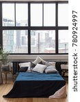 bedroom design  bed with a blue ... | Shutterstock . vector #780924997