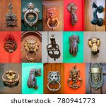 set of old style door handle... | Shutterstock . vector #780941773
