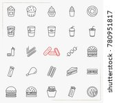 fast food line icons set | Shutterstock .eps vector #780951817