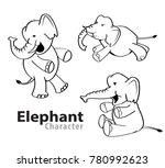 elephant character llustration... | Shutterstock .eps vector #780992623