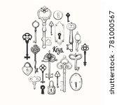 vector set of hand drawn... | Shutterstock .eps vector #781000567