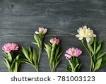 white and pink peony flower on... | Shutterstock . vector #781003123