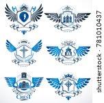 collection of heraldic... | Shutterstock . vector #781010437