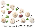 mushrooms with parsley isolated ... | Shutterstock . vector #781012303