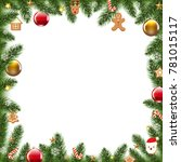 xmas border with fur tree with...   Shutterstock .eps vector #781015117