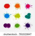 vector paint splatters.colorful ...   Shutterstock .eps vector #781023847