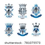 royal symbols lily flowers ... | Shutterstock . vector #781075573